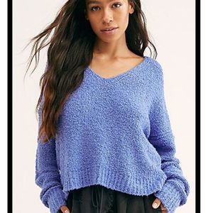 Free People Finder's Keepers blue sweater v neck